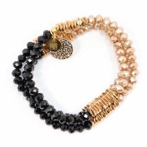 BB Lilia Gold / Rose Gold / Black Bracelet NWOT